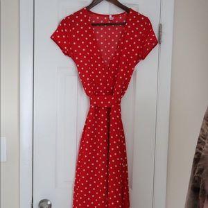 Red pock-a dot dress